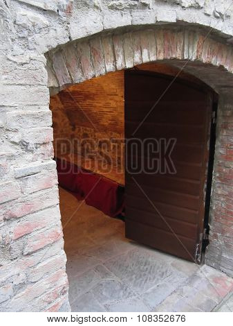 Mysterious Door, Secret Entrance With Warm Light Inside