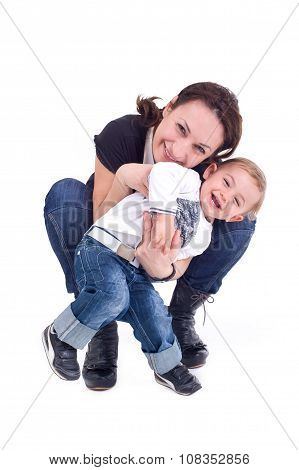 Mother and son posing happily