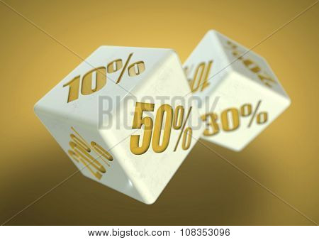 Percentage savings on dice side. Rolling dice to determine the percentage discount you can get. Concept for sale deal and discounted savings at shop or store. poster