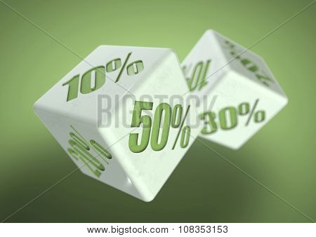 Two Dice Rolling. Percentage Savings On Each Face. Discount, Deal, Sale, Save Money