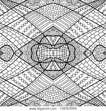 Zentangle Abstract Background Black White 3
