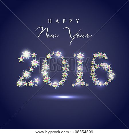 Glossy stylish text 2016 made by colorful stars for Happy New Year celebration.