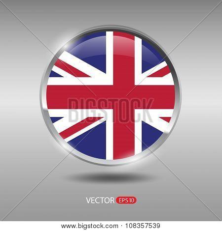 Shiny, glossy vector badge with UnitedKingdom flag