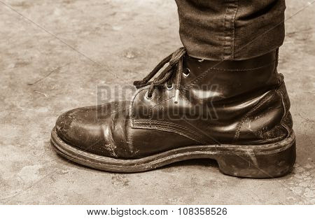 brown vintage leather boots