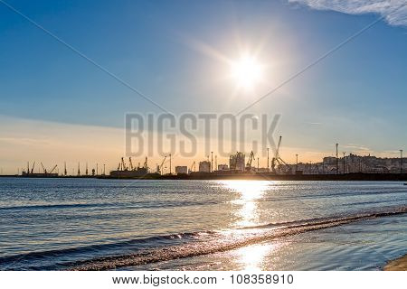 The Port of Durres on sunset in Albania. poster
