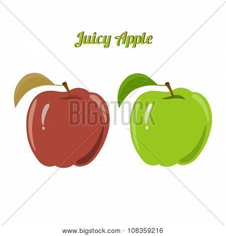 Set of juicy green and red apple isolated on a white background - green apple and red apple. poster