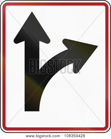 New Zealand road sign RG-29 - Straight ahead or right turn lane. poster