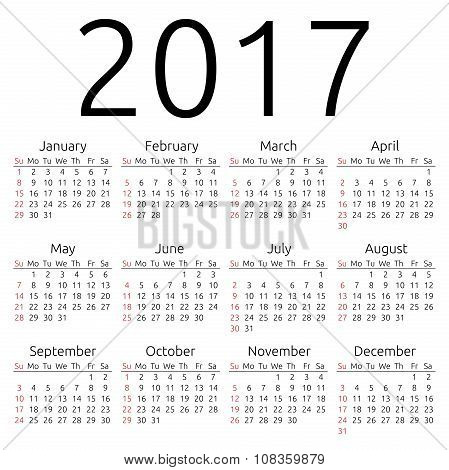 Vector Calendar 2017, Sunday