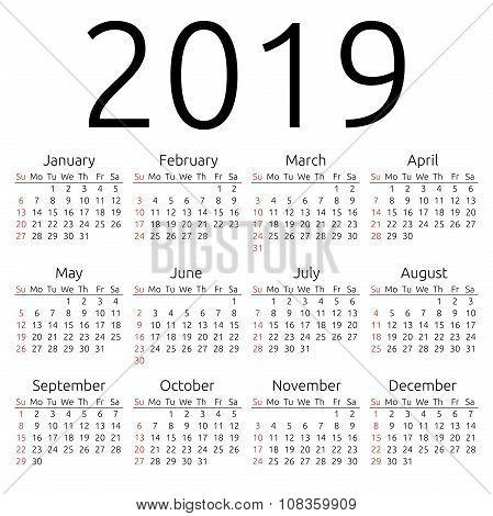 Vector Calendar 2019, Sunday