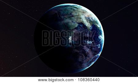 Astronaut alone in deep space. Elements of this image furnished by NASA poster