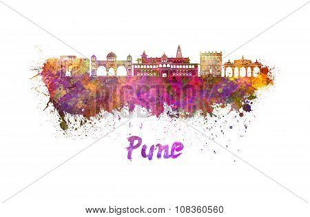 Pune Skyline In Watercolor