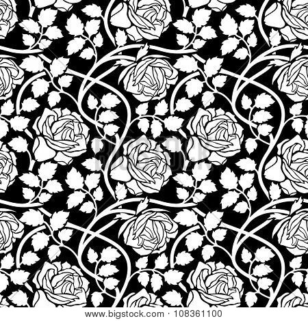 Rose flowers seamless background. Floral ornament with flower head, leaves and liana, wavy branches foliate pattern. Black and white stylish tracery.