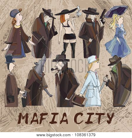 Hand Drawing Mafia Characters. Role Playing Card Game
