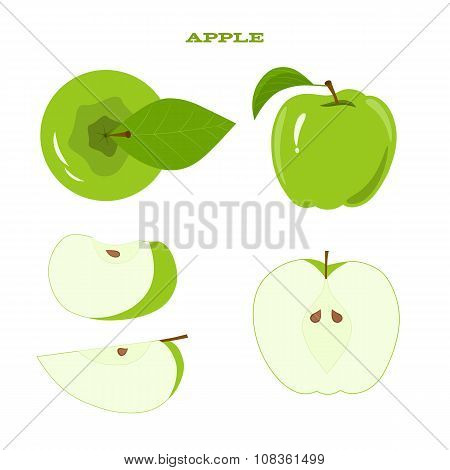 Set of juicy green apple isolated on a white background - green apple and juicy slices. poster