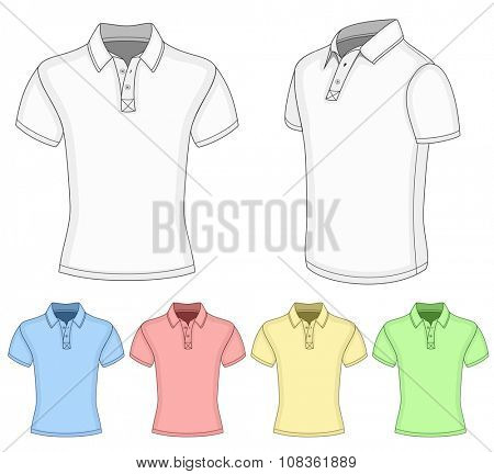 Men's short sleeve polo-shirt. Vector illustration.  Redact color very easy.