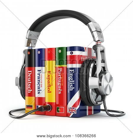 Learning languages online. Audiobooks concept. Books and headphones isolated on white. 3d