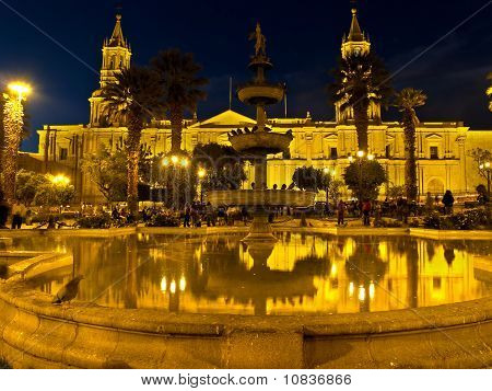 Nocturnal Plaza De Armas And Cathedral - Arequipa
