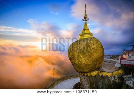 Golden rock of Kyaiktiyo, Myanmar.