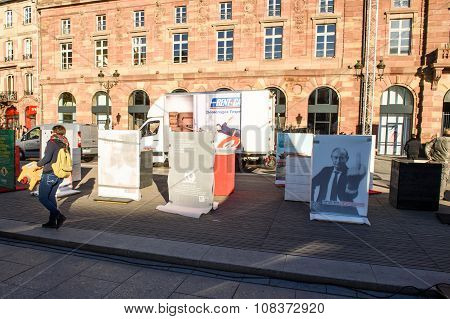 STRASBOURG FRANCE - NOV 16 2015: Reporters Without Borders: Vladimir Putin indecent signage with No freedom of information no voice of opposition - public exibition installation