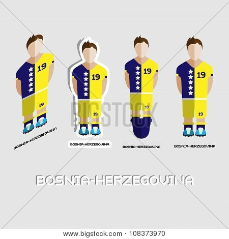 Bosnia-Herzegovina Soccer Team Sportswear Template. Front View of Outdoor Activity Sportswear for Men and Boys. Digital background vector illustration. Stylish design for t-shirts shorts and boots. poster