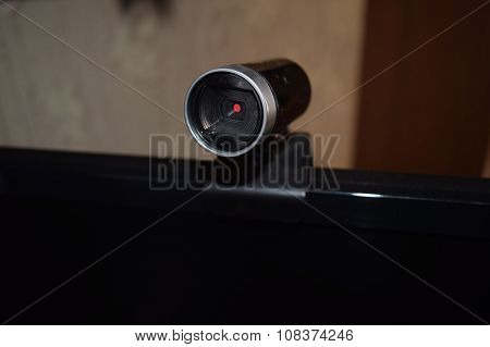 Web Camera, Attached To The Monitor