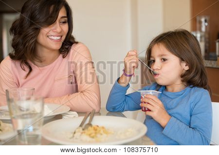 Mom And Daughter Having Lunch
