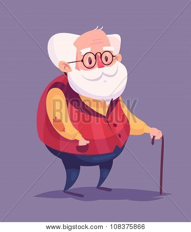 Funny old man character. Isolated vector illustration.