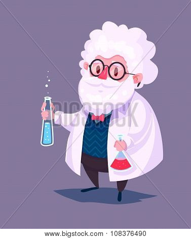 Funny scientist character. Isolated vector illustration.