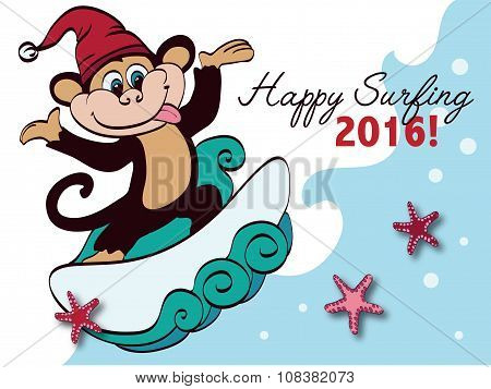 Vector Surfing New Year Monkey Holiday Greeting Card Design. Happy 2016. Celebration. Surf board. Ch
