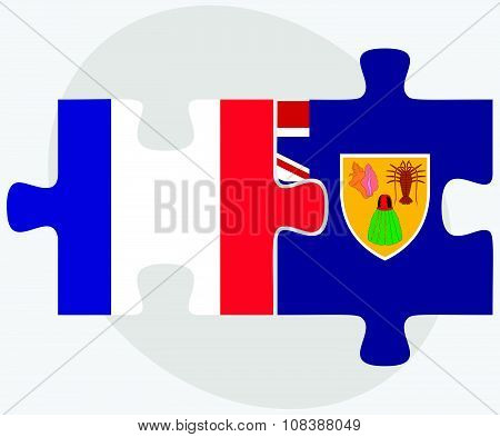 France and Turks and Caicos Islands Flags in puzzle isolated on white background poster
