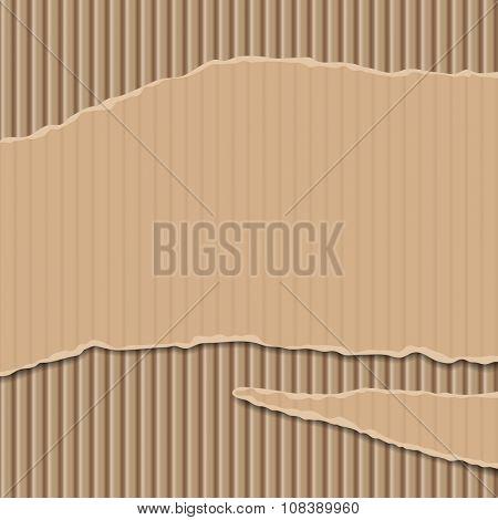 Cardboard corrugated banner and background. Vector illustration poster
