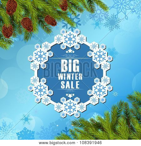 Winter sale background banner and christmas tree
