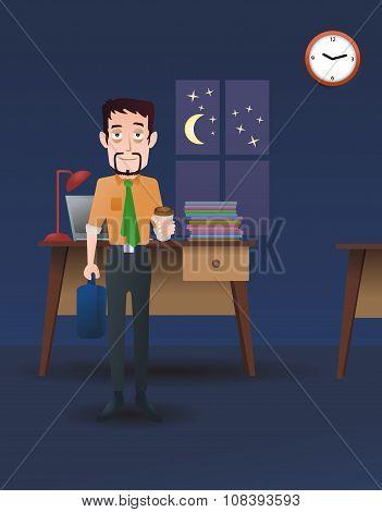 Late Worker At Office
