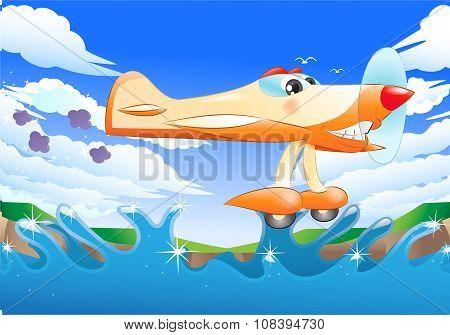 Yellow Jet Plane Flying Away