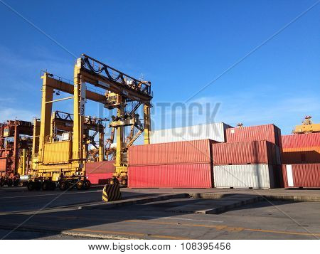 Bangkok,thailand-september 2015:group Of Containers And Crane In Port Autority Of Thailand