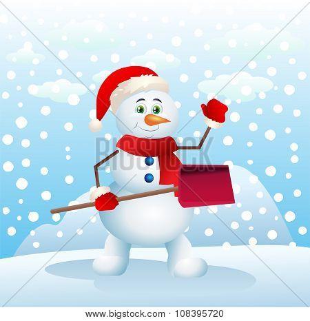 Happy Snowman Holding Snow Shove