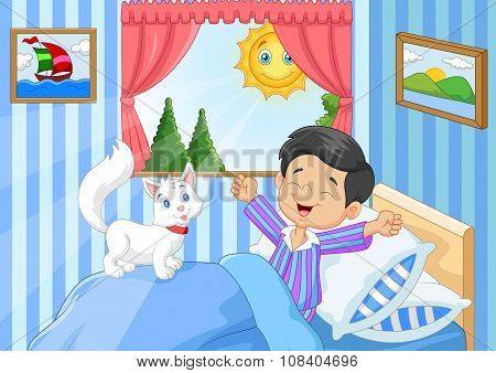 Cartoon Little boy waking up and yawning