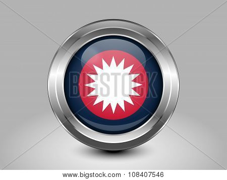 Nepal Variant Flag. Metal Round Icons. This is File from the Collection Asian Flags poster