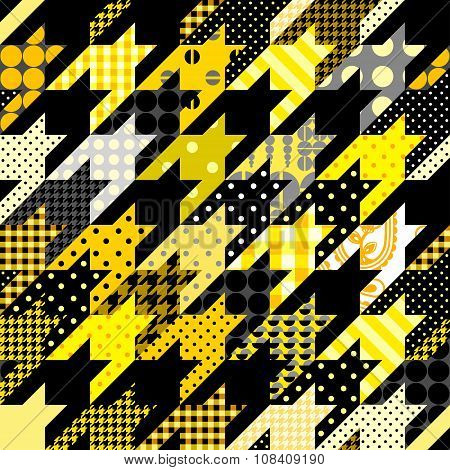 Seamless background pattern. Yellow hounds-tooth geometric pattern in patchwork style. poster
