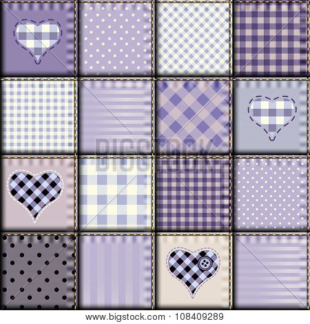 Seamless background pattern. Patchwork in light lilac color. poster