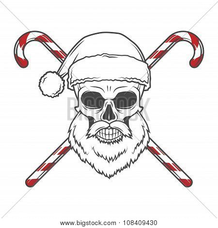 Bearded Skull Santa Claus with candy canes poster. Vintage Christmas old man portrait. Holiday t-shi
