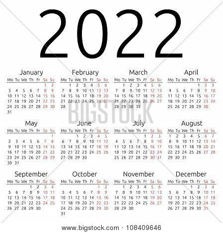 Simple Calendar 2022, Monday