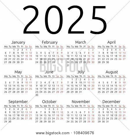 Simple Calendar 2025, Monday