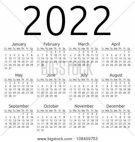 Vector Calendar 2022, Sunday