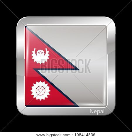 Nepal Variant Flag. Metallic Icon Square Shape. This is File from the Collection Flags of Asia poster