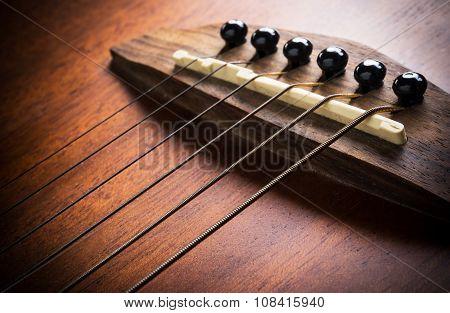 Acoustic Guitar Focus On Strings
