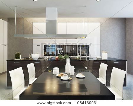 Kitchen contemporary style. White and black colors in interior. 3d images poster