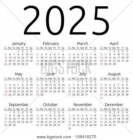 Simple 2025 year calendar week starts on Sunday EPS 8 vector poster