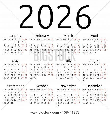 Simple Calendar 2026, Monday