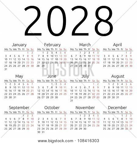 Simple Calendar 2028, Monday